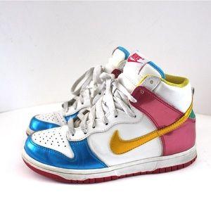 Nike High Top Dunks Gold/ Berry/ Blue Sneaker